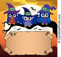 Small parchment with Halloween owls