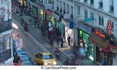 Small Parisian street, the top view. Paris, France. Time...