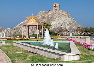 Small park at Mutrah Corniche in Muscat, Om