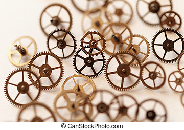 Collection of vintage rusty watches and clock parts on an old clock