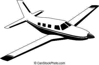 Small passenger single engine propeller aircraft on a white background.