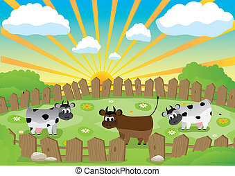 Small pasture - Three cows on a small pasture