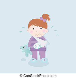 Small crying child with fractured bone and blue teddy bear. Vector Illustration.