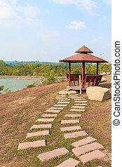 Small pavilion over a lake