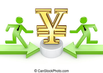 Small people running to yen symbol.