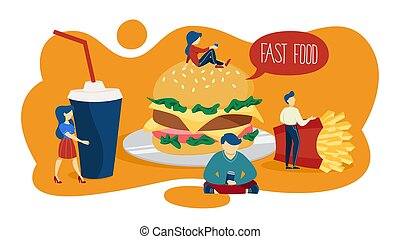 Small people standing around giant fast food