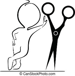 Small people with scissors