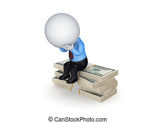 Small person sitting on a stack of dollars.
