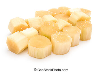 small pieces of sugarcane on white
