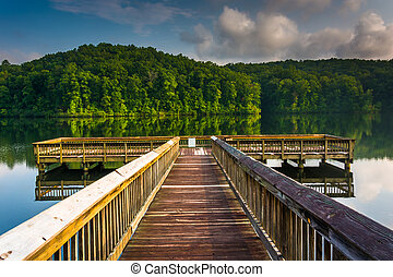 Small pier at Lake Oolenoy, Table Rock State Park, South Carolin