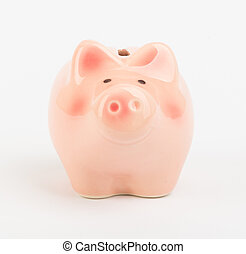Small piggy bank on white, front view