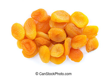 Small pile of dried apricots isolated on the white ...