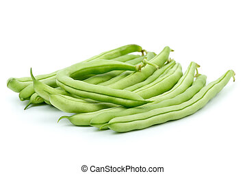 Small pile of green bean pods isolated on the white...