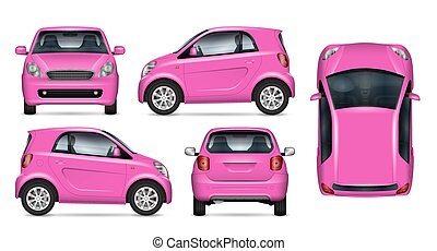 Small pink car realistic vector illustration
