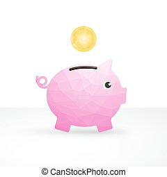 small pink pig as a money box and coin