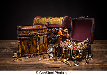 Small pirate treasure chest on wooden table