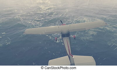 Small plane flies over night ocean - Static shot of a small...