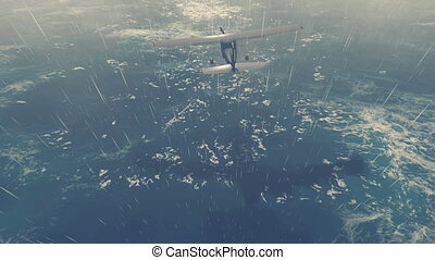 Small plane flies over stormy ocean - Small propeller...