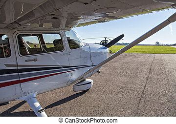 Small plane in private airport - Image of a small private...