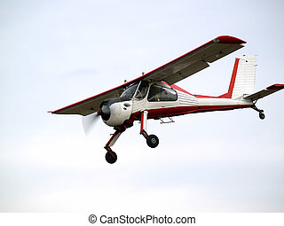 Small plane on glideslope - Small glider puller plane on...