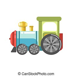 Small plastic steam train with colorful parts isolated on white
