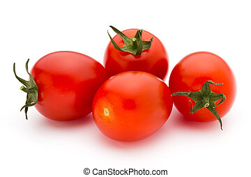 Small plum tomatoes on a white background. - Cherry tomatoes...