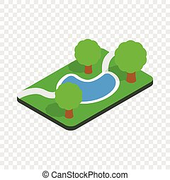 Small pond in the park isometric icon