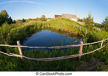 Small pond in the village on the sunset
