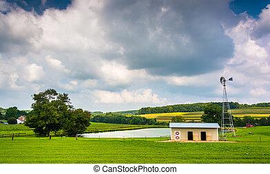 Small pond on a farm in rural York County, Pennsylvania.