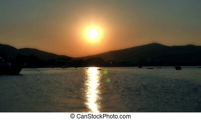 small port sunset slow motio