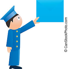 Small postman. vector - Vector illustration Small postman on...