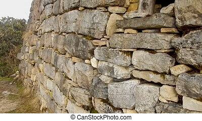 small primitive structure constructed in Peru - Closeup of...