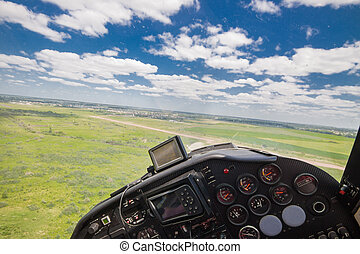 Small private plane - View from the cockpit of a light...