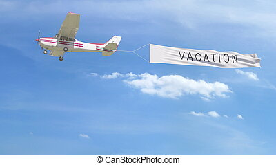 Small propeller airplane towing banner with VACATION caption in the sky. 3D rendering