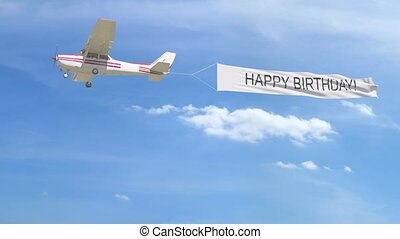 Small propeller airplane towing banner with caption. 4K animation