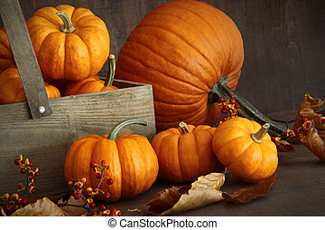 Small pumpkins with wooden box on table
