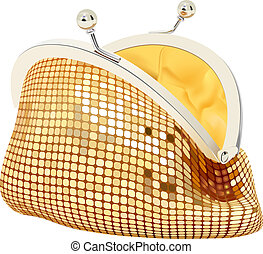 small purse - vector realistic golden purse on white ...