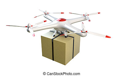 Small quadrocopter drone delivers a package.
