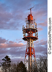 Small radio tower at sunset on the Oschenberg, Bayreuth, Germany.
