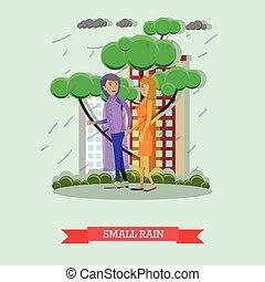 Small rain concept vector illustration in flat style -...