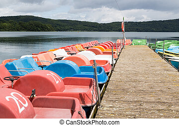 Small recreation boats at a jetty