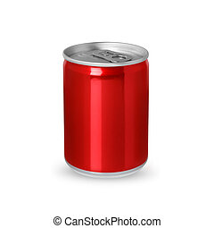 Small red aluminum can isolated on white background