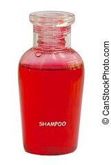 Small red bottle of shampoo