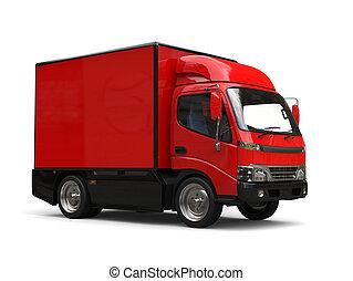 Small red box truck - studio shot