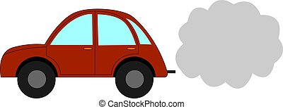 Small red car, illustration, vector on white background.