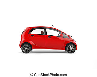 Small red electric modern car - side view
