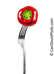 Small red pepper on a fork