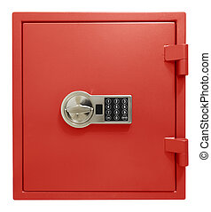 Small red safe box isolated with clipping path included
