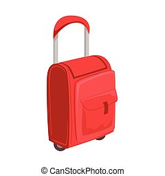 Small Red Suitcase With Pockets On Wheels With Telescopic...