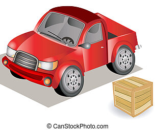 small red truck - Hand drawn illustration of a small truck ...